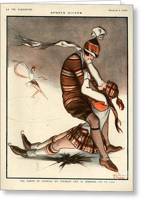 Ice-skating Drawings Greeting Cards - 1920s France La Vie Parisienne Magazine Greeting Card by The Advertising Archives