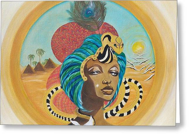 Pyramids Greeting Cards - 20ac.  Nubian Queen Greeting Card by Sigrid Tune