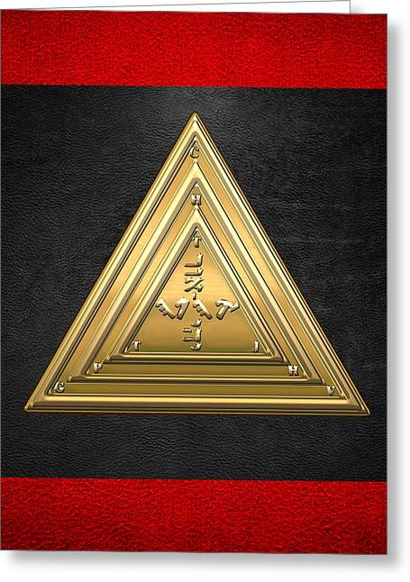 Black Lodge Greeting Cards - 20th Degree Mason - Master of the Symbolic Lodge Masonic Jewel  Greeting Card by Serge Averbukh
