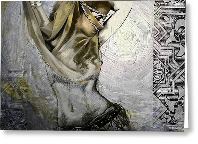 Dancer Art Greeting Cards - Abstract Belly Dancer 3a Greeting Card by Corporate Art Task Force