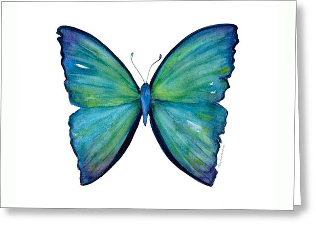 21 Blue Aega Butterfly Greeting Card by Amy Kirkpatrick