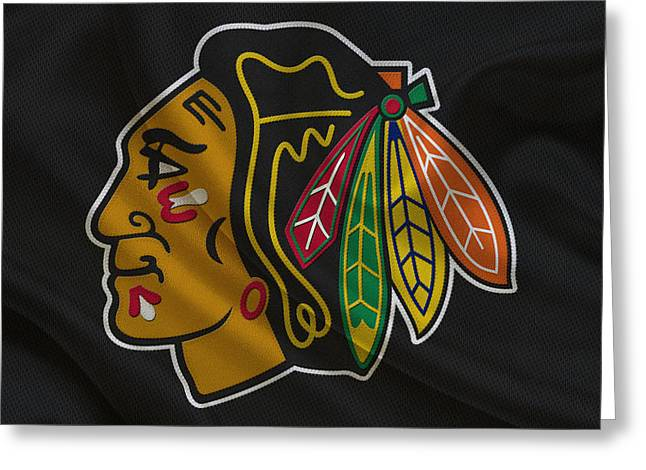 Ice Skates Greeting Cards - Chicago Blackhawks Greeting Card by Joe Hamilton