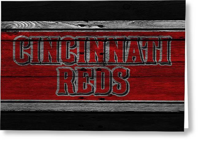 Glove Greeting Cards - Cincinnati Reds Greeting Card by Joe Hamilton