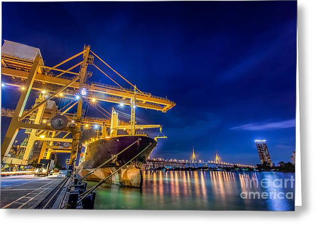 Manufacturing Greeting Cards - Container Cargo freight ship  Greeting Card by Anek Suwannaphoom