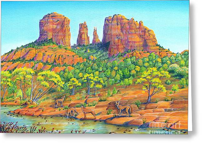 Red Rock Crossing Paintings Greeting Cards - 21 Coyotes Of Sedona Arizona Greeting Card by Jerome Stumphauzer