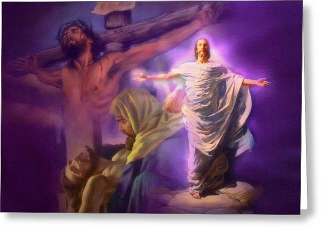 Religious Paintings Greeting Cards - Crucifixion Greeting Card by Victor Gladkiy