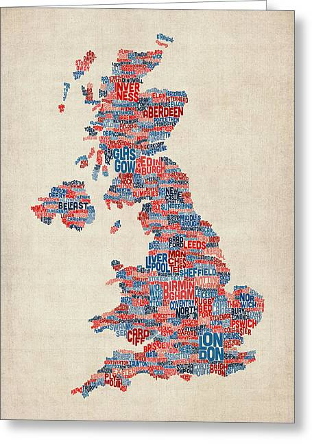 England Map Greeting Cards - Great Britain UK City Text Map Greeting Card by Michael Tompsett