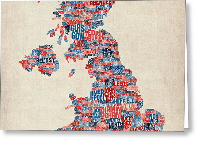 Great Britain UK City Text Map Greeting Card by Michael Tompsett