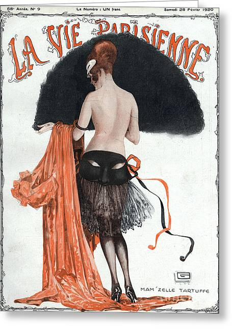 Posters Greeting Cards - La Vie Parisienne  1920 1920s France Greeting Card by The Advertising Archives