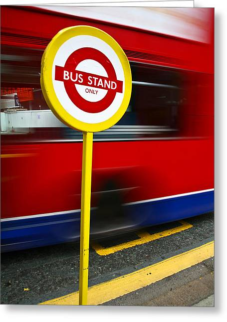 Busstop Greeting Cards - London Greeting Card by Jean Schweitzer