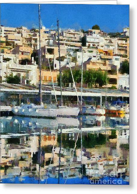 Paint Greeting Cards - Reflections in Mikrolimano port Greeting Card by George Atsametakis