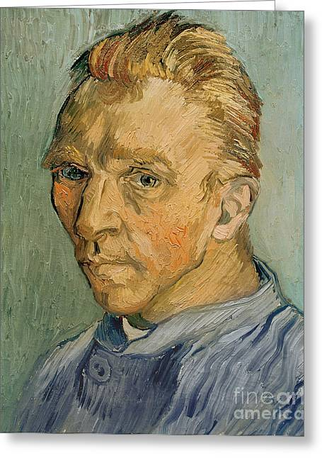Van Gogh Cards Greeting Cards - Self Portrait Greeting Card by Vincent Van Gogh