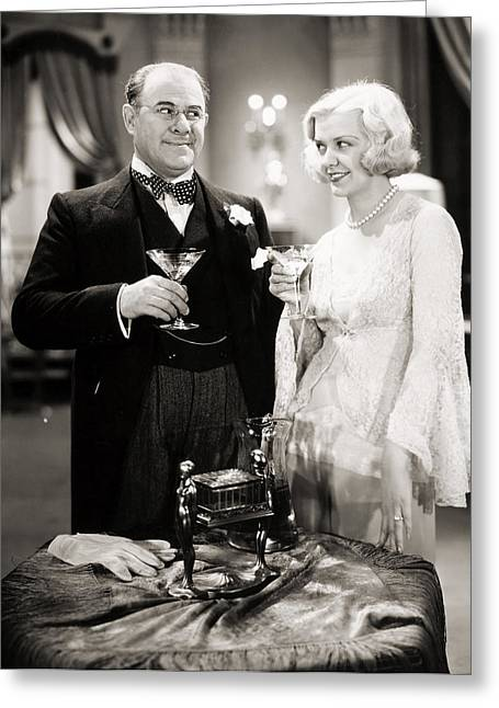 Toast Greeting Cards - Silent Film Still: Drinking Greeting Card by Granger
