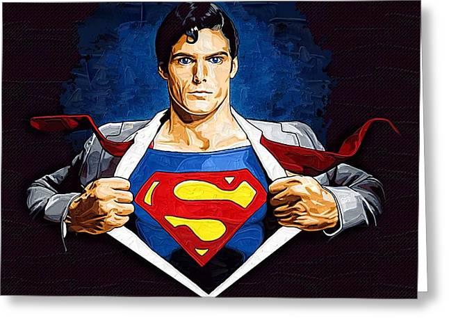 Superman Paintings Greeting Cards - Superman Returns Greeting Card by Victor Gladkiy