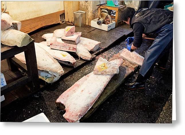Talking Fish Greeting Cards - Tokyo Fish Market Greeting Card by Marco Brivio