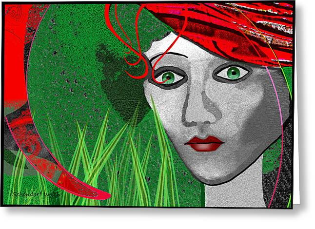 New Individuals Greeting Cards - 210 - Lady  red hat Greeting Card by Irmgard Schoendorf Welch