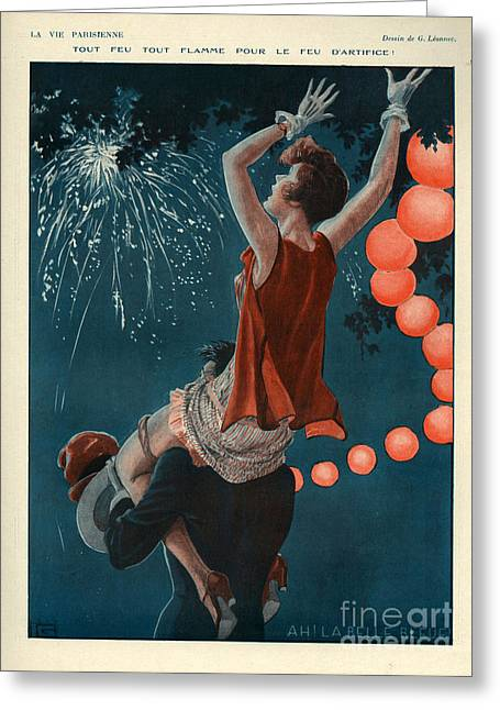 Fireworks Drawings Greeting Cards - 1920s France La Vie Parisienne Magazine Greeting Card by The Advertising Archives