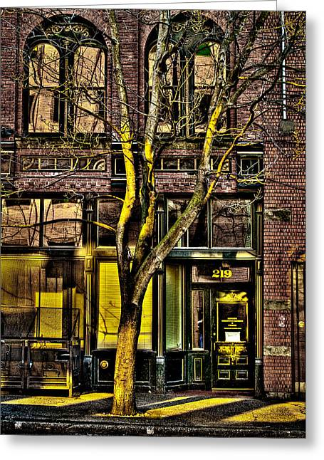 Pioneer Square Seattle Greeting Cards - 219 Washington Street in Seattle Greeting Card by David Patterson