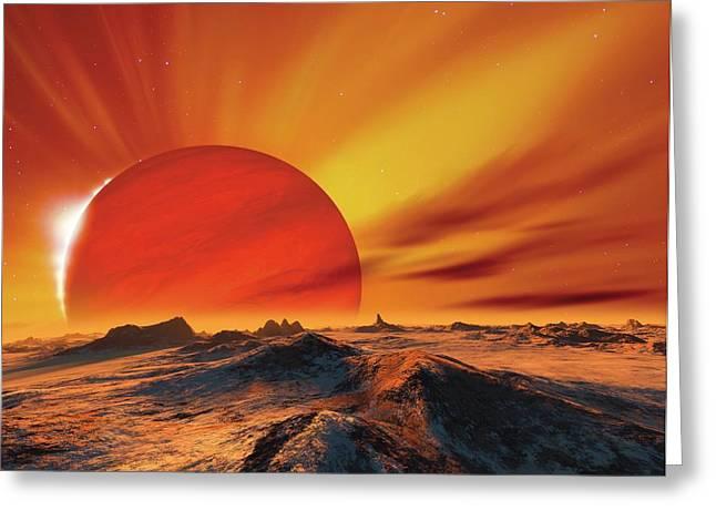 Alien Planetary System Greeting Card by Detlev Van Ravenswaay