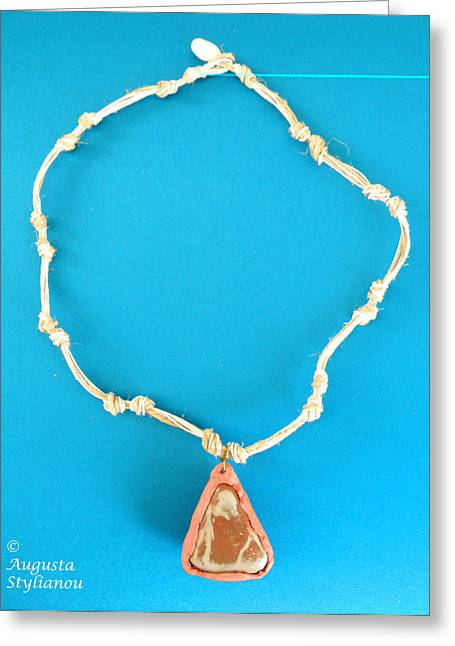 White Jewelry Greeting Cards - Aphrodite Pandemos Necklace Greeting Card by Augusta Stylianou