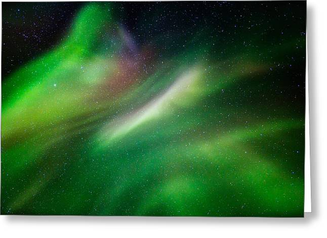 Temperature Greeting Cards - Aurora Borealis Or Northern Lights Greeting Card by Panoramic Images