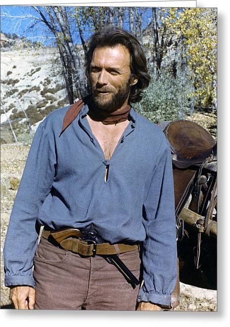 Clint Greeting Cards - Clint Eastwood Greeting Card by Silver Screen