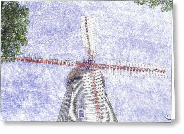 Mills Pastels Greeting Cards - Danish Windmill Greeting Card by Tim Mulholland
