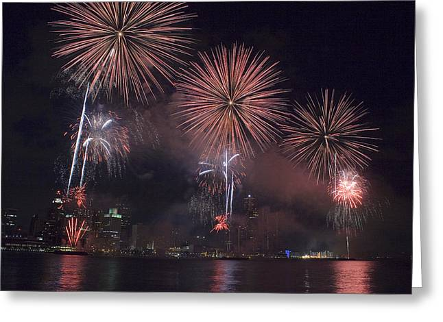 Renaissance Center Greeting Cards - Fireworks Greeting Card by Gary Marx