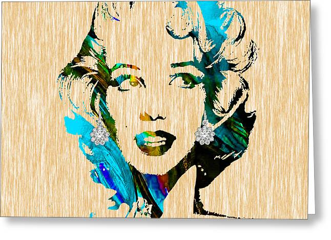Marilyn Greeting Cards - Marilyn Monroe Diamond Earring Collection Greeting Card by Marvin Blaine