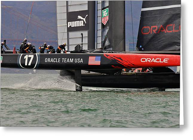 H2omark Greeting Cards - Oracle Americas Cup Greeting Card by Steven Lapkin