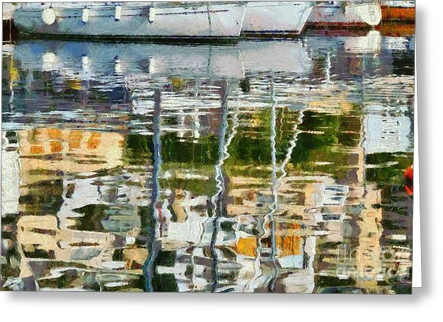 Harbor Greeting Cards - Reflections in Mikrolimano port Greeting Card by George Atsametakis