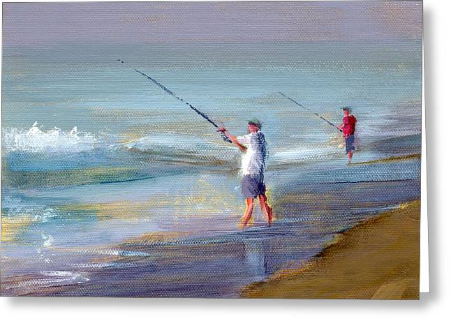 Ocean Shore Paintings Greeting Cards - RCNpaintings.com Greeting Card by Chris N Rohrbach