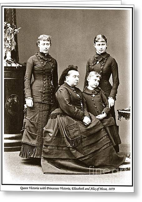 Grand Duchess Elizabeth Greeting Cards - 223. Queen Victoria with her granddaughters Princesses Victoria Elizabeth and Alix of Hesse 1879  Greeting Card by Royal Portraits