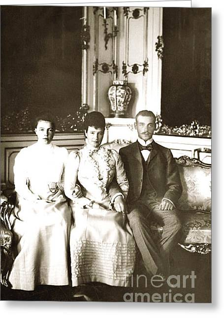 Alexandrovich Greeting Cards - 227. Dowager Empress Maria Feodorovna Grand Duke Michael Alexandrovich Grand Duchess Olga 1900 Print Greeting Card by Royal Portraits