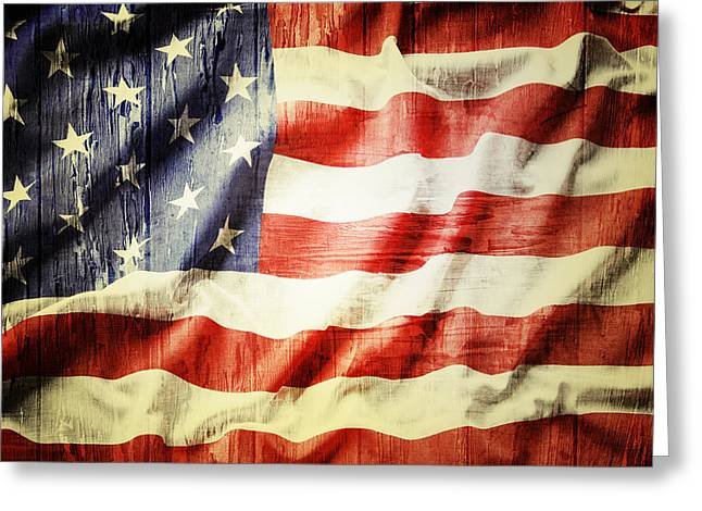 Old Wall Greeting Cards - American flag Greeting Card by Les Cunliffe