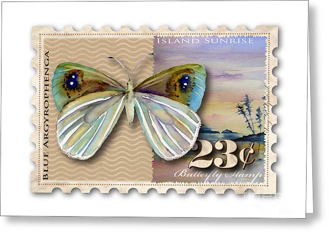 Butterflies Paintings Greeting Cards - 23 Cent Butterfly Stamp Greeting Card by Amy Kirkpatrick