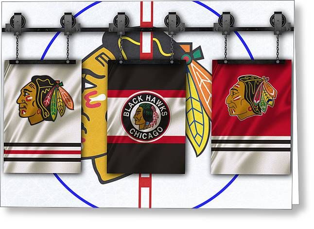 Chicago Flag Greeting Cards - Chicago Blackhawks Greeting Card by Joe Hamilton