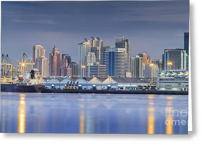 Town Pier Greeting Cards - Container Cargo freight ship  Greeting Card by Anek Suwannaphoom