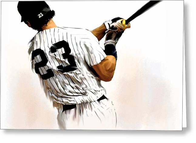 Photographs Drawings Greeting Cards - 23 Don Mattingly Greeting Card by Iconic Images Art Gallery David Pucciarelli