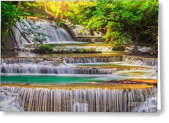 Amazing Sunset Greeting Cards - Erawan Waterfall Greeting Card by Anek Suwannaphoom