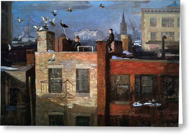 Red Buildings Greeting Cards - Pigeons Greeting Card by John Sloan