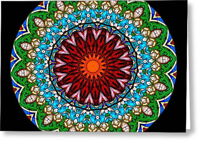 Religion Greeting Cards - Kaleidoscope Stained Glass Window Series Greeting Card by Amy Cicconi