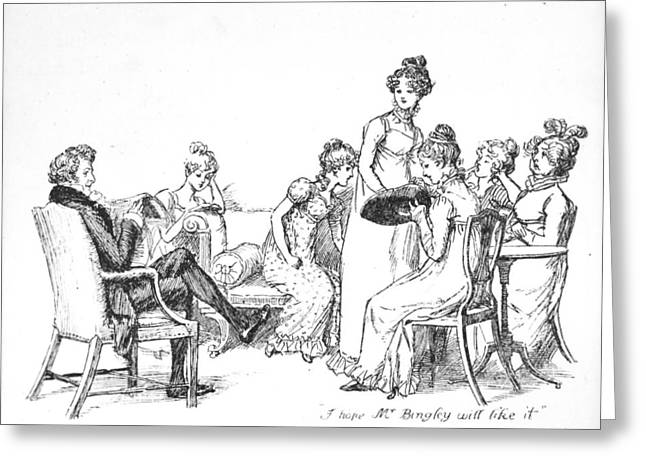 Domestic Scene Greeting Cards - Scene from Pride and Prejudice by Jane Austen Greeting Card by Hugh Thomson