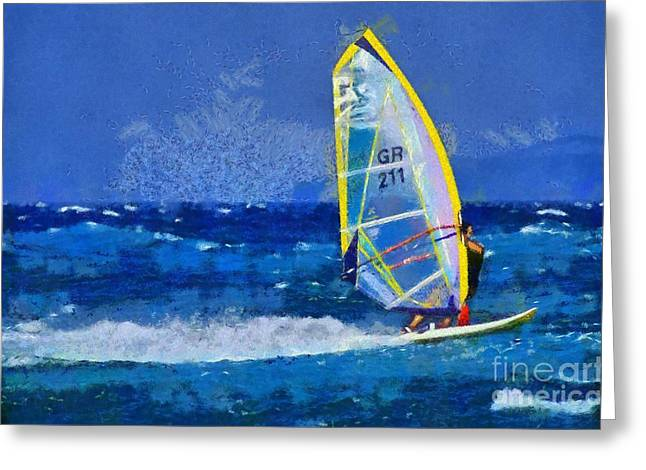 Sailboarding Greeting Cards - Windsurfing Greeting Card by George Atsametakis