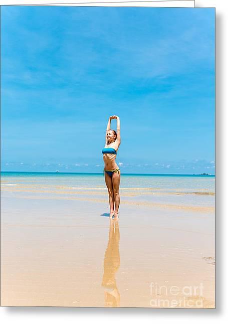 Personal Trainer Greeting Cards - Woman doing yoga Greeting Card by Nikita Buida