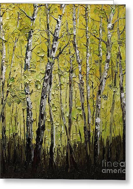 Birch Tree Greeting Cards - Birch Greeting Card by Willson Lau