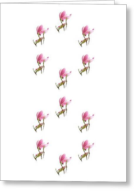 Bedroom Art Greeting Cards - 24 Dancing Pink Magnolias Panel 1 Greeting Card by Andee Design