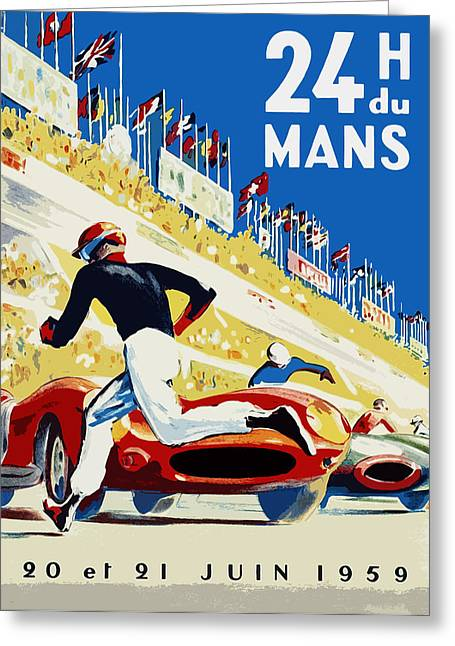 Motor Greeting Cards - 24 Hour Le Mans 1959 Greeting Card by Mark Rogan