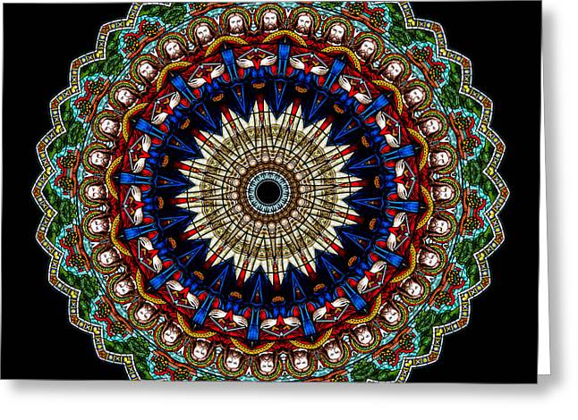 Halo Greeting Cards - Kaleidoscope Stained Glass Window Series Greeting Card by Amy Cicconi