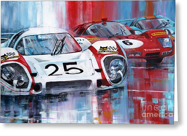 Team Paintings Greeting Cards - 24 Le Mans 1970 Greeting Card by Yuriy Shevchuk